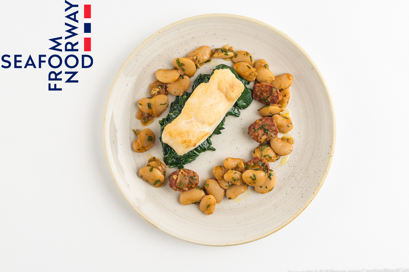 Roast Norwegian Cod with white beans and chorizo