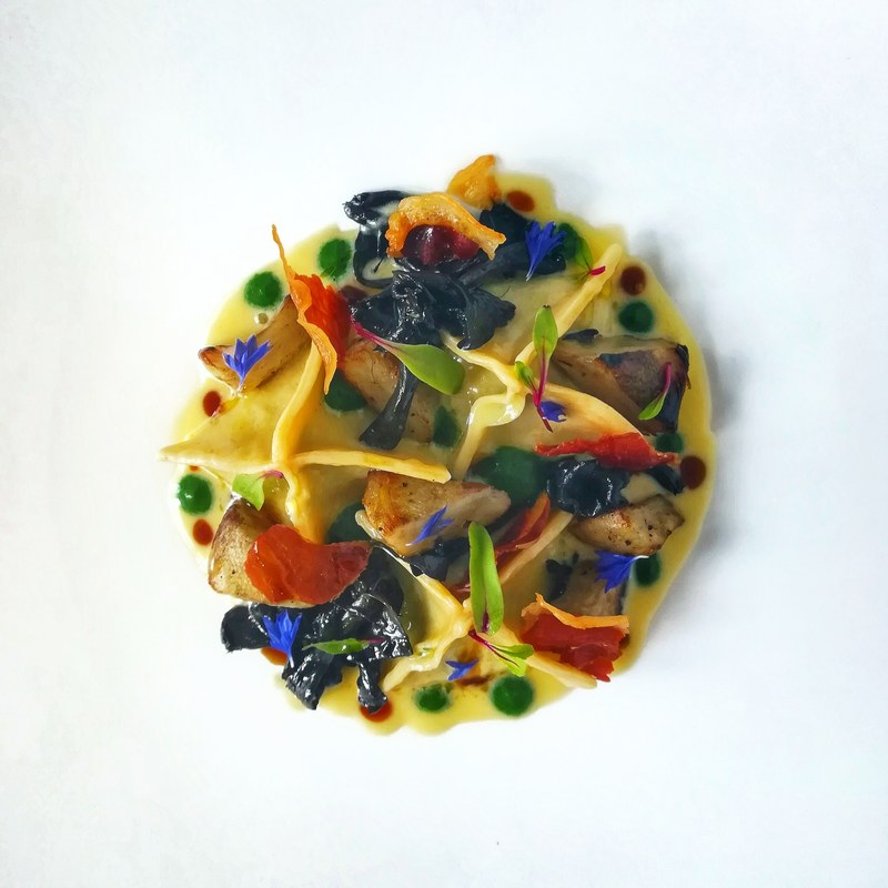 Spinach& fresh goats cheese ravioli, black trumpets mushrooms, roasted artichokes, crispy ham..