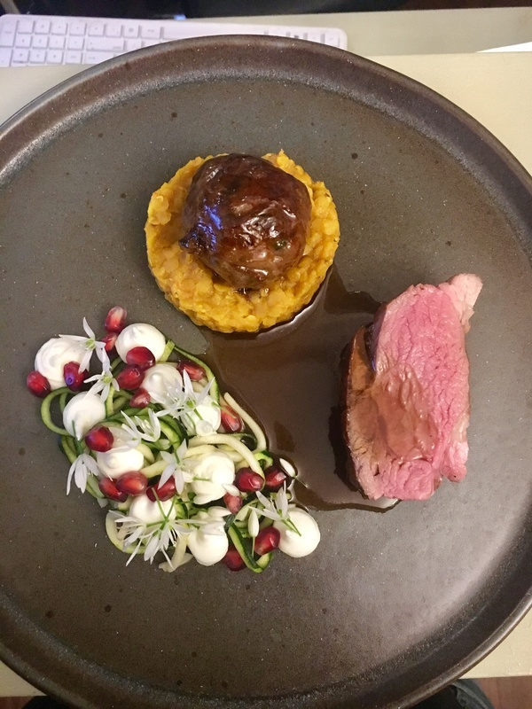 Herdwick lamb, marinated courgette, lentil dhal