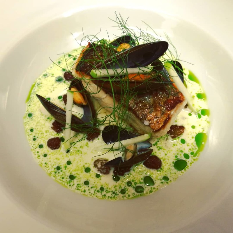 Peterhead Coley Fillet, Arisaig Mussels, Sultana, Apple, Dill Split Cream Sauce
