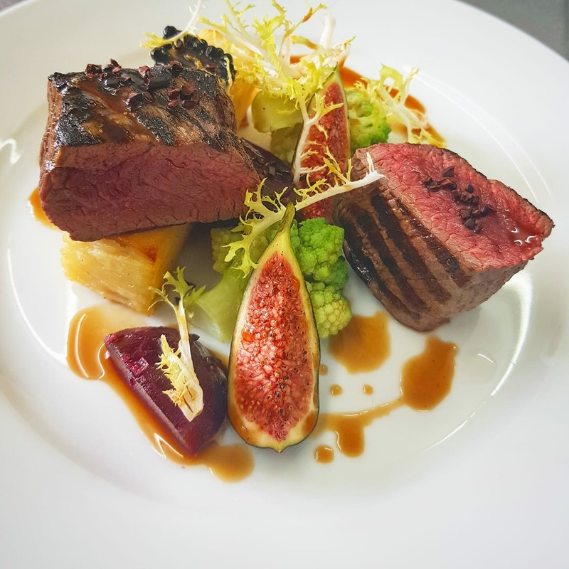 Venison/figs/pomme Anna/blackberry/beetroot/chocolate porter sauce