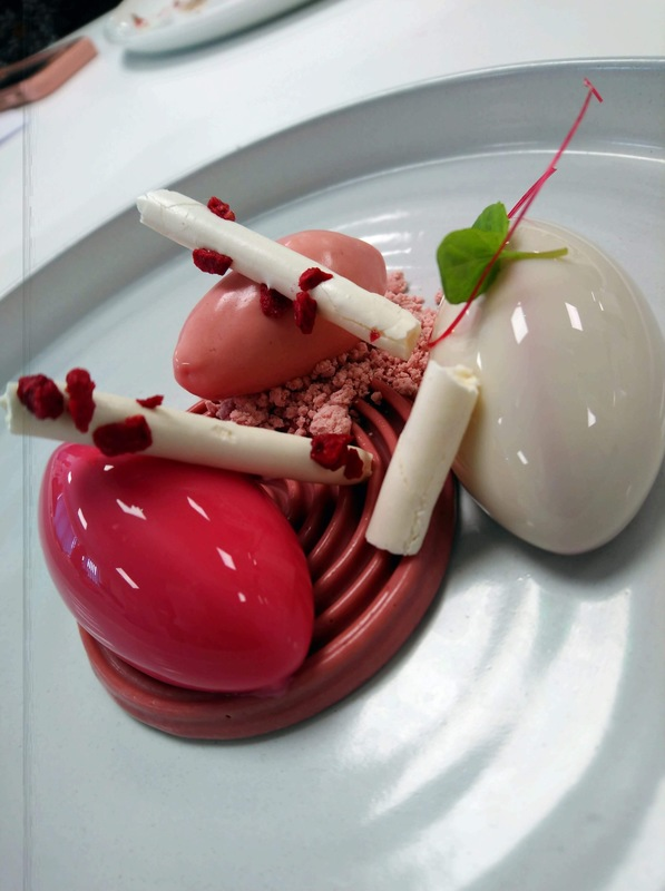 New Callebaut Ruby plated dessert. Ruby mousse, Raspberry meringue, Ruby cremeux, Ruby & Rose ice cream, Raspberry mousse