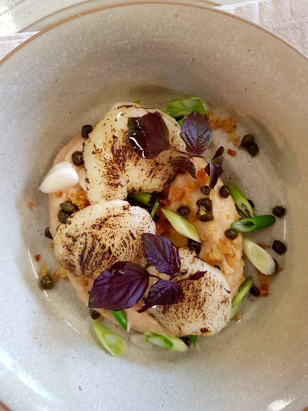 Salt cod cheek / taramasalata / spring onion and sourdough crumb.