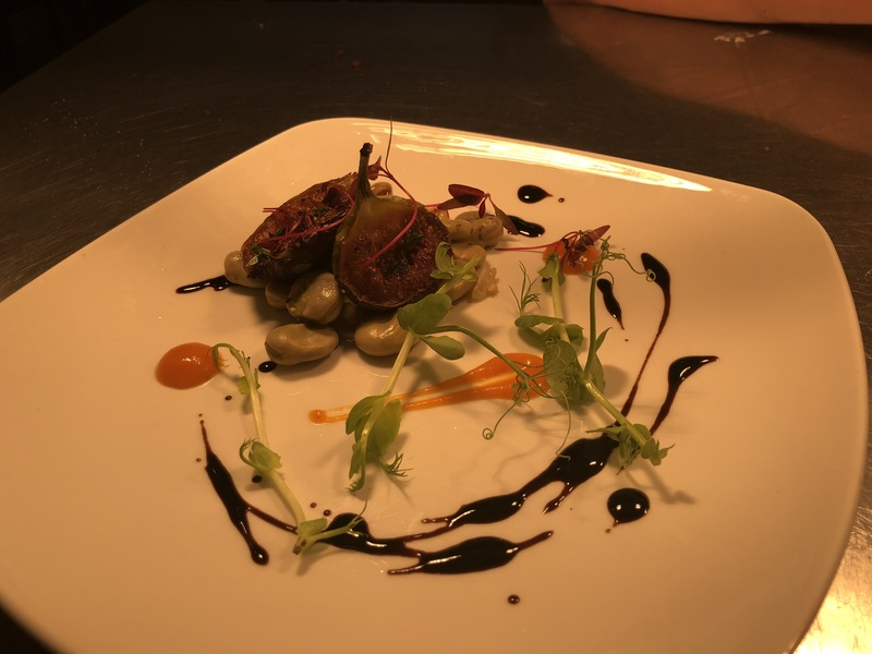 Thyme roasted fig, stewed broad bean, purée of sweet potato, coconut and saffron, balsamic