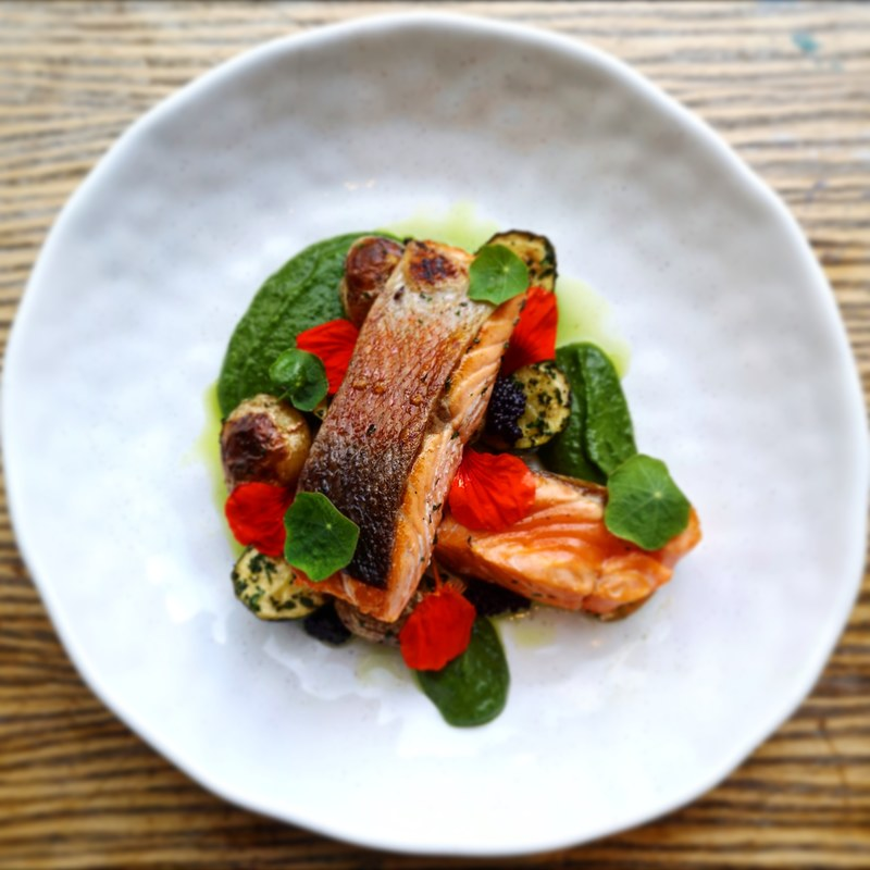 Cured sea trout, courgettes, Jersey royals, caviar, and nasturtiums from the garden :grin: