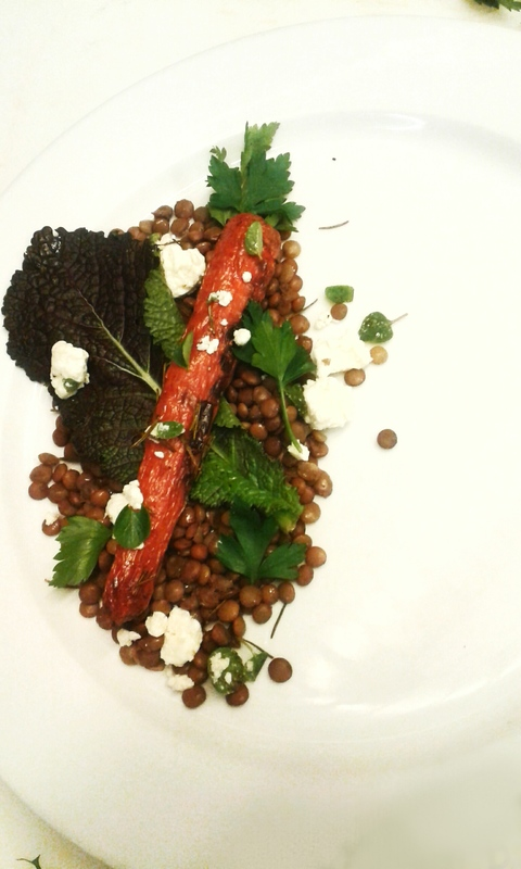 Burnt and Baked carrot, lentils, ricotta cheese with fresh herbs, French vinagrete.