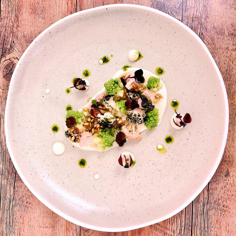 Textures of cauliflower, puffed barley.