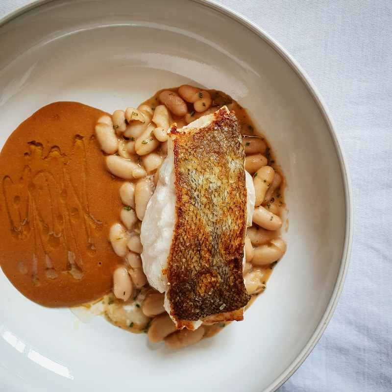 Cod, Beans, Shellfish Sauce, Olive Oil.