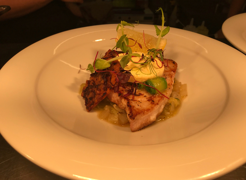 Seared swordfish, gin and lime butter, ratatouille verde, beetroot and grana pando crisp