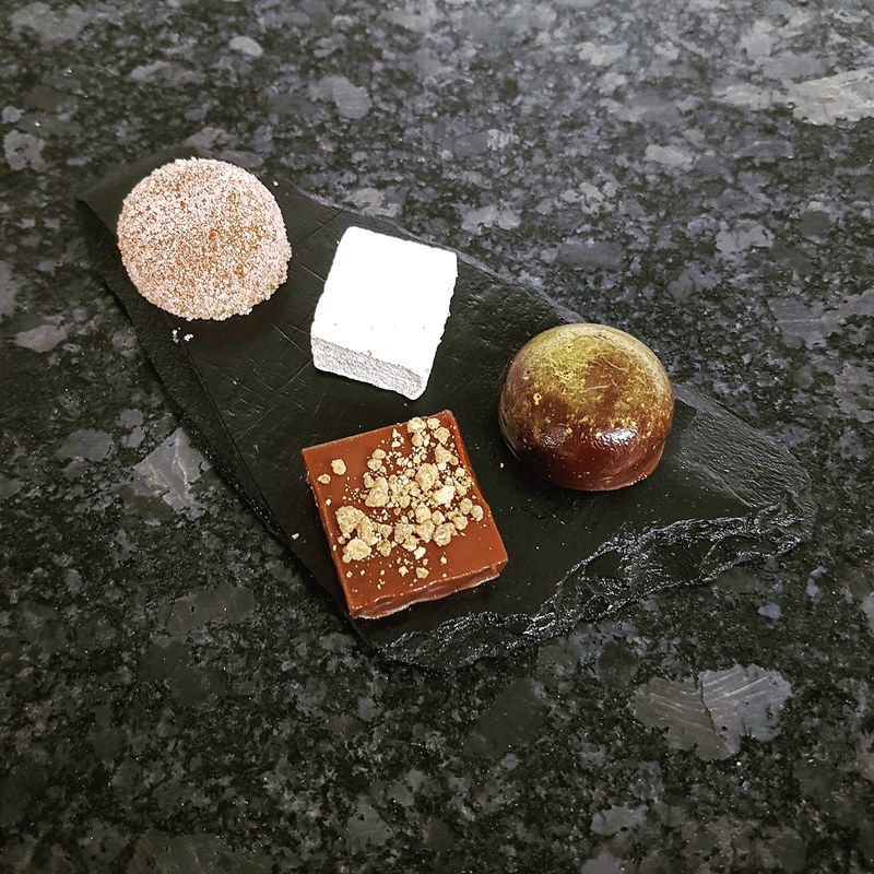 This week's petit fours :fire: apricot yuzu pastille - chocolate buttermilk fudge - woodruff marshmallow - chocolate and soy sauce caramel truffle