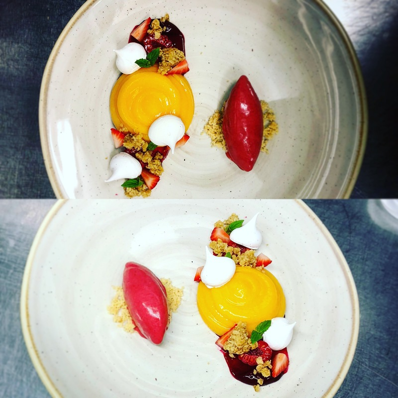 Replated developed dish. Lemon - berries - oats. Raspberry sorbet