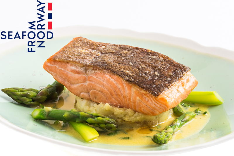 Fillet of Fjord Trout with crushed new potatoes, asparagus and sorrel sauce by Seafood from Norway