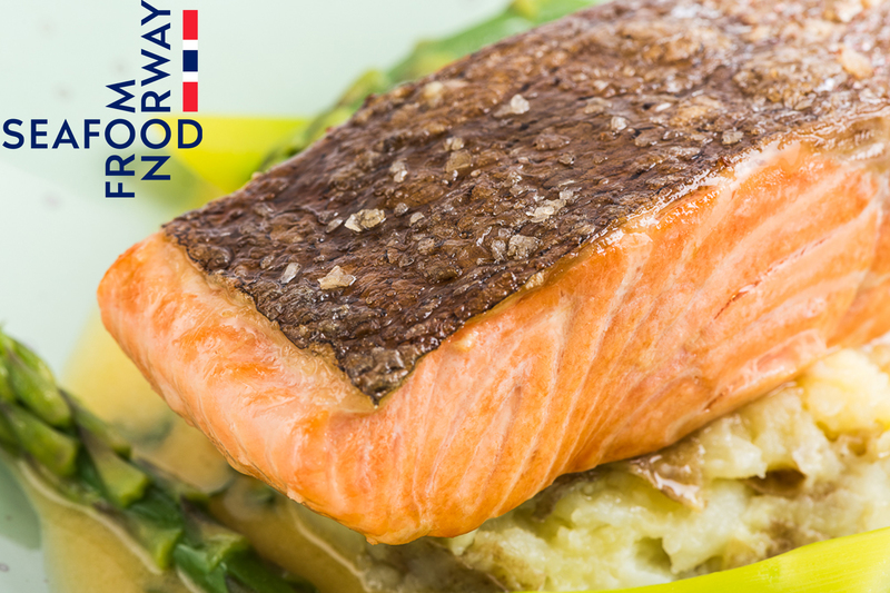 Fillet of Fjord Trout with crushed new potatoes, asparagus and sorrel sauce by Seafood from Norway - 1
