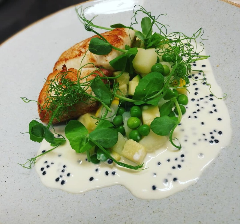 Scrabster Plaice Fillet, Grewar's Courgette, Peas, Potato, Arënkha Caviar Sauce