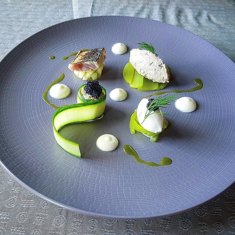 Home smoked and torched local mackerel. Marinated and compressed cucumber, apple, caviar, yoghurt, dill oil.