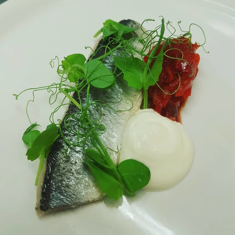 Chilli Pickled Fraserburgh Herring Fillet, Red Pepper Marmalade, Rora Dairy Yoghurt.