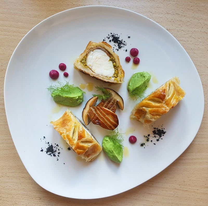 """Monkfish wellington""  Part.2 • Monkfish marinated with rosemary and rolled with pancetta•pistachio•pea fennel puree•porcini•beetroot puree•black garlic squid ink soil..."
