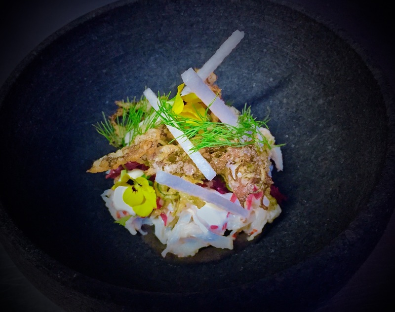 King crab with Manjimup black truffle emulsion, ginger mayonnaise, tempura seaweed and Korean pear with dill and yellow buttercups