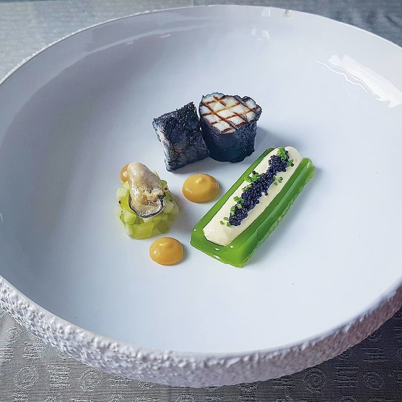 Barbeque monkfish. Smoked oyster cream, apple and cucumber glee, poached oyster apple and cucumber salad, caviar.