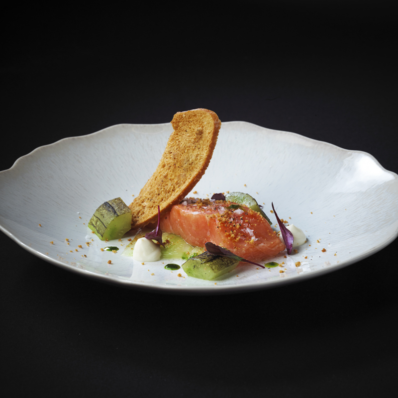 Lemon Confit Salmon recipe with Charred cucumber, buttermilk and curried sour dough by Thomas Rhodes