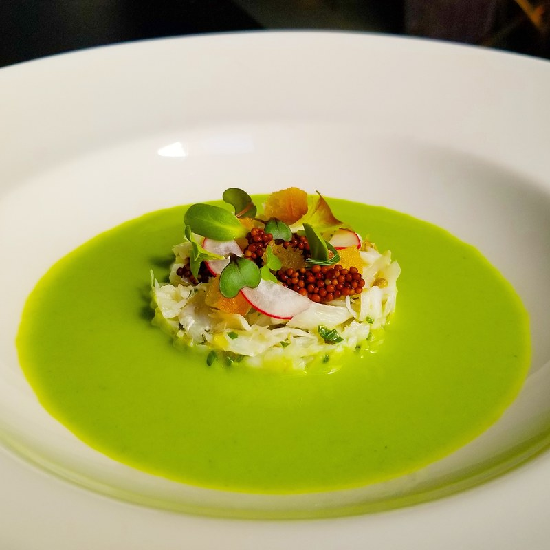 Pea and mint veloute, cod, mustard seed, radish and croutons