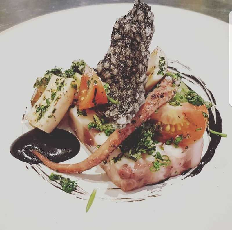 Octopus, Heirloom Tomatoes, Squid Ink