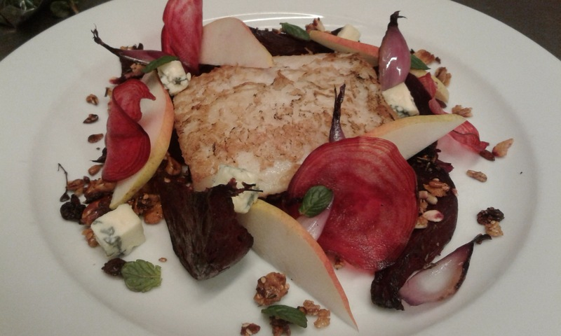 Salmón criollo, baked beets, pickled beets, herb granola cracking, pear and blue cheese.   Best Uruguayan farm products.