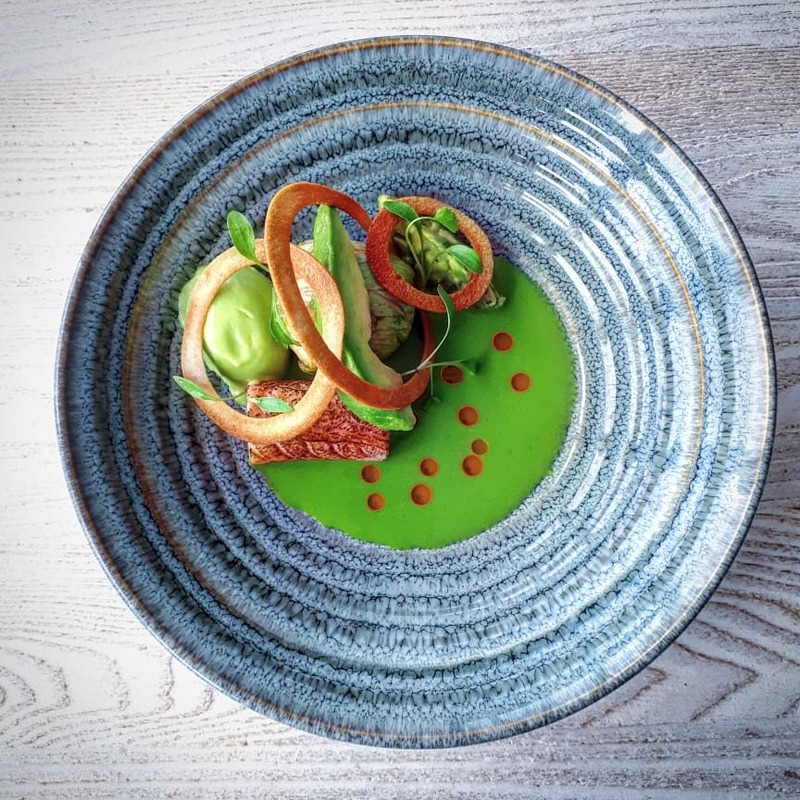 Lambay lobster salad (wrapped in lettuce), cured salmon, avocado, lime, lettuce, crispy bread