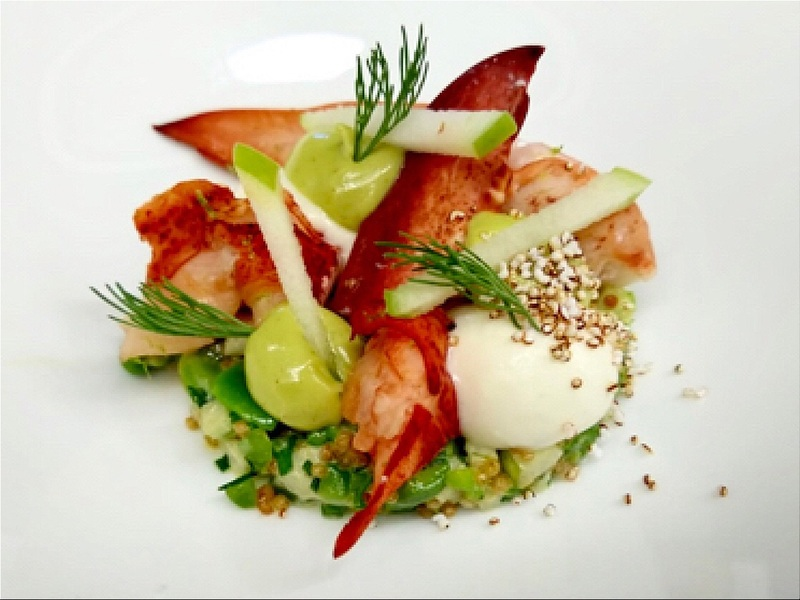 Maine Lobster, Vegetable Cruesli, Local Goat's Cheese, Popped Amaranth, Granny Smith.