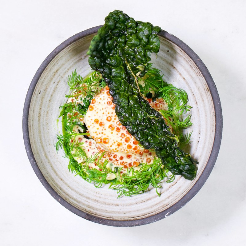 Why do all fishes taste better with dill? :herb::kissing_smiling_eyes: •fried kale • low temped cod • white wine sauce with roe • Dill
