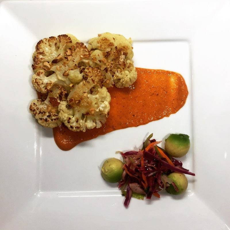 Roasted cauliflower, romesco, lime slaw