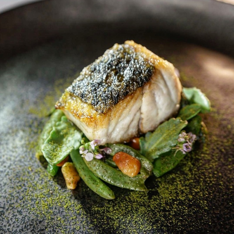 Dry aged Humpty Doo barramundi cooked over paperbark and lemon myrtle | karkalla | Beach mustard | macadamia