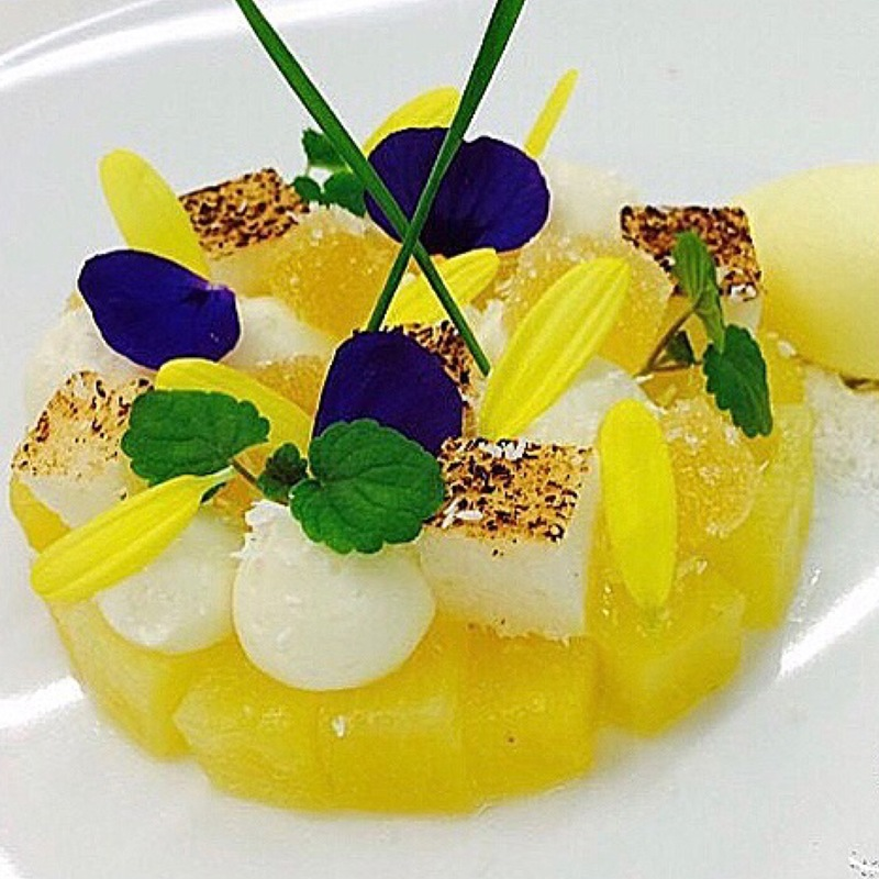Compressed Pineapple, Coconut Cream, Passion Fruit, Ice Cream.