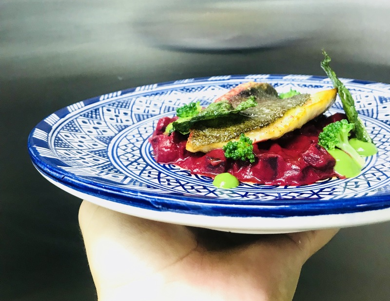 John Dory with textures of beetroot, broccoli and spinach.
