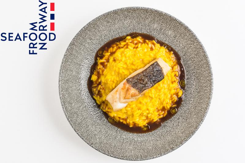 Norwegian Cod With Saffron Risotto And Red Wine Sauce