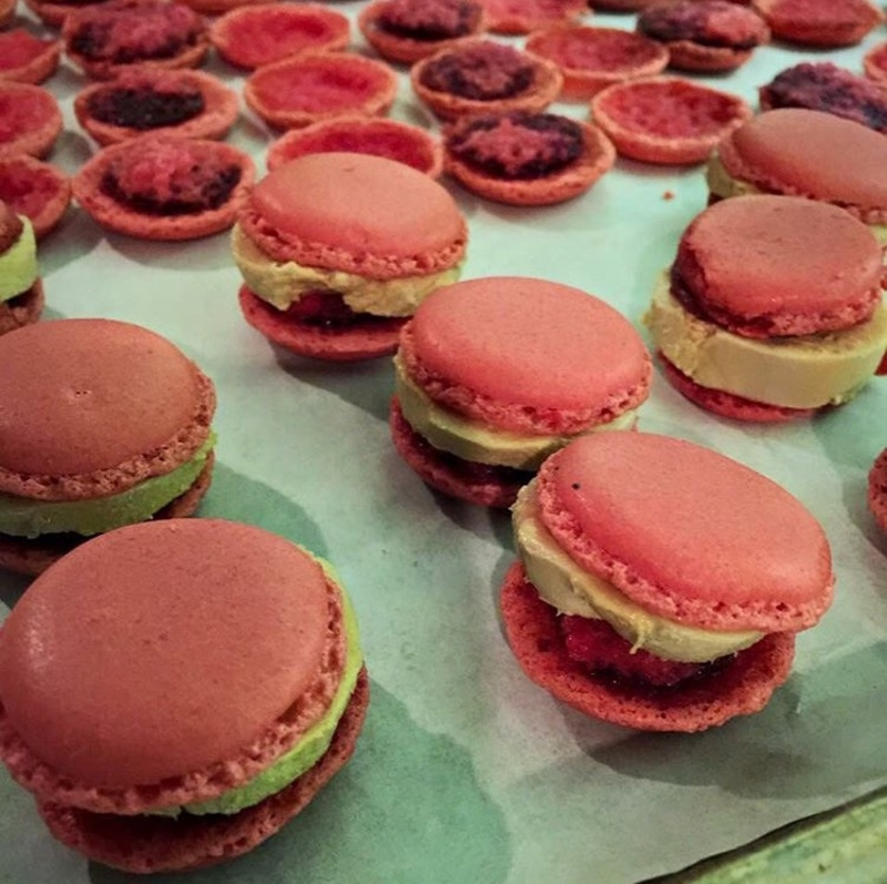 Raspberry and foie gras macaroons..... taste just like PB&J