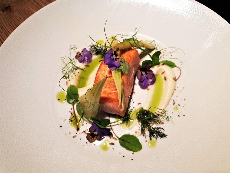 Warm Smoked Scottish Salmon, Pickled Fennel & Onion , Horseradish Creme, Watercress oil, Fennel seeds