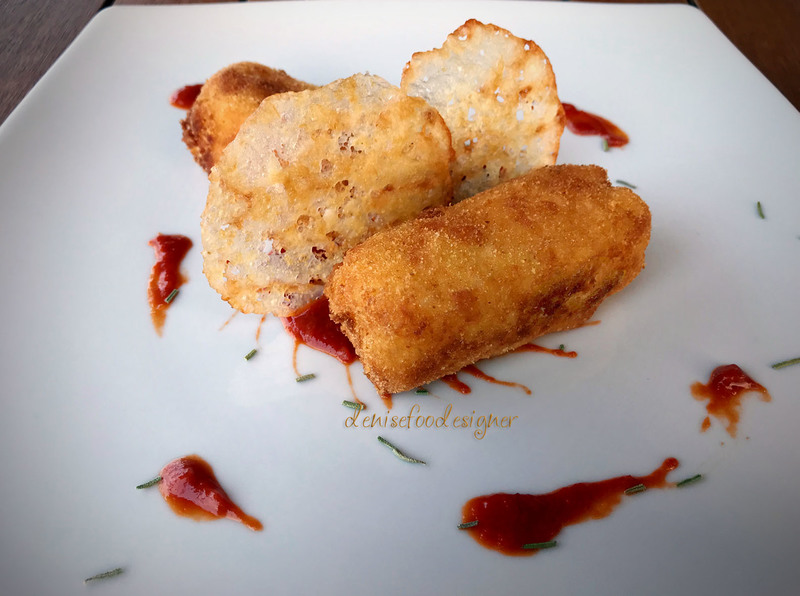 Rosemary potatoes croquettes with homemade datterino tomatoes ketchup