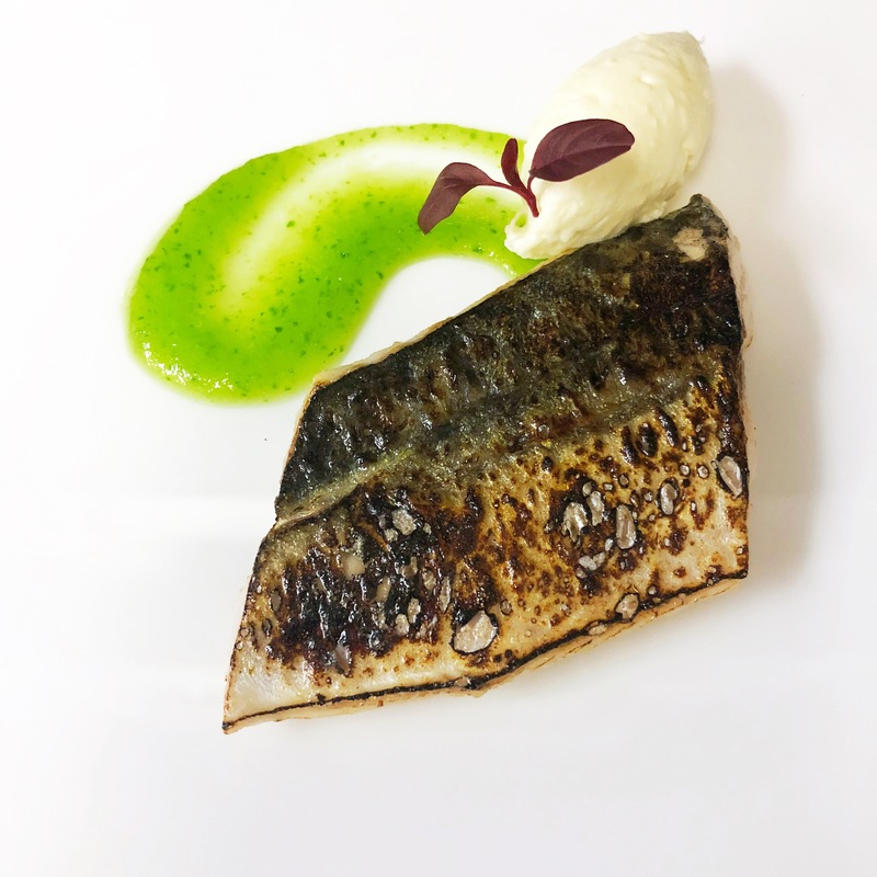 Blow torched mackerel, cucumber gel, horseradish and red amaranth.