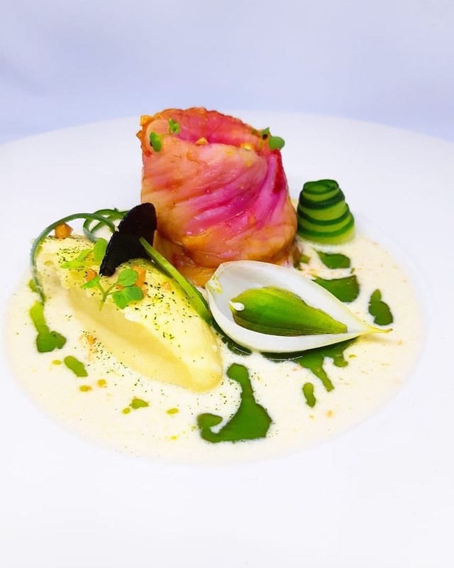 Infuse Roll Snapper With Sour Cream Basil Oil , Creamy Smoke Butter Potato.