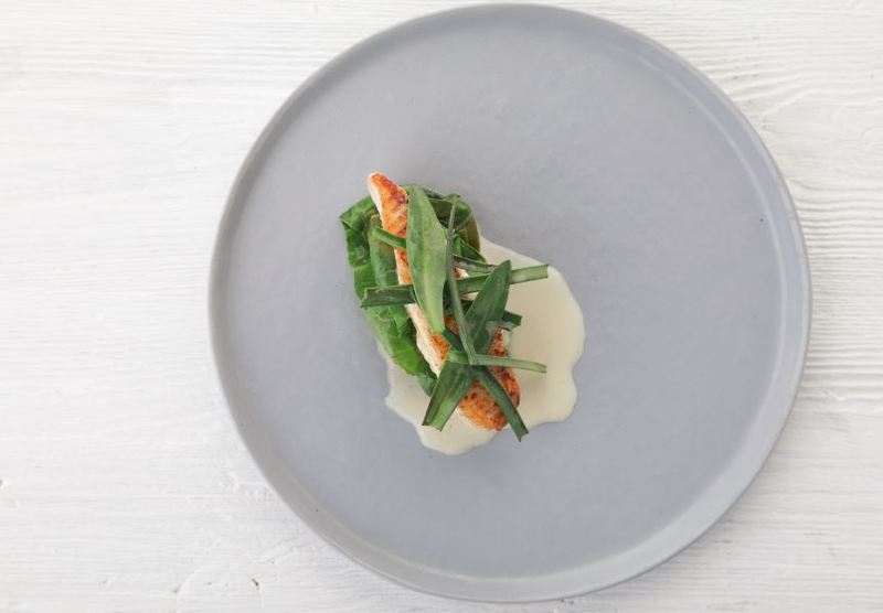 Halibut, pickled chard, sea herbs by Scott Smith