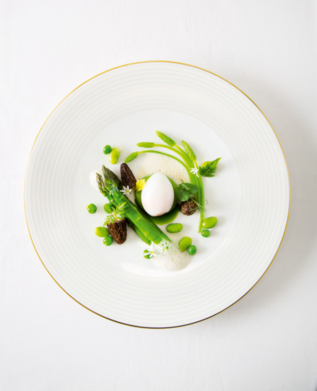 Soft-boiled Gull Eggs, Asparagus, Broad Beans and Pecorino Foam  recipe by John Williams, The Ritz London