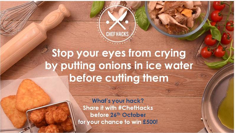 This little trick will stop your eyes from watering when cutting onions. What's your hack? Share with #ChefHacks on Twitter for your chance to win £500!