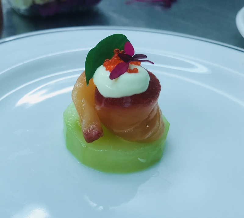 Canapé/beetroot yuzu cured salmon •comprised cucumber/yuzu emulation/tobico