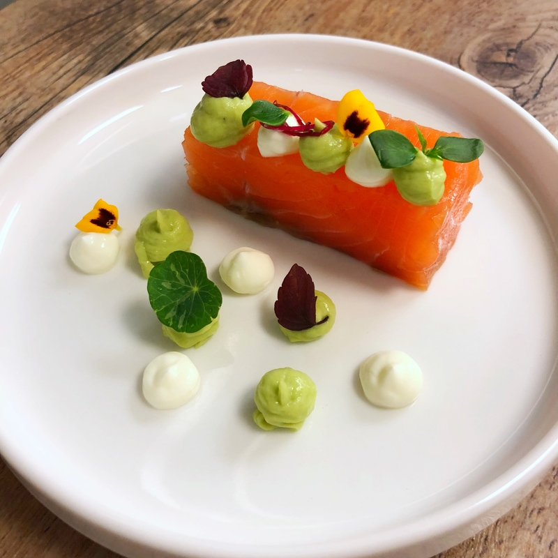 Salmon, avocado and crème fraiche.