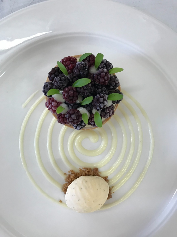 Blackberry custard tart,pickled apple,mascarpone ice cream