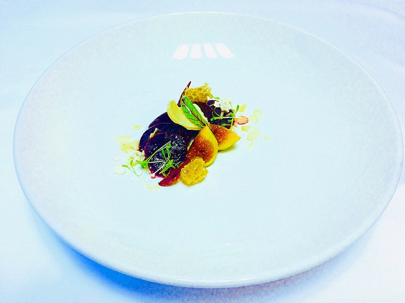 Marinated Beetroot Honeycomb with Goat's Cheese and Figs,Sliced Almond,Crispy Bread