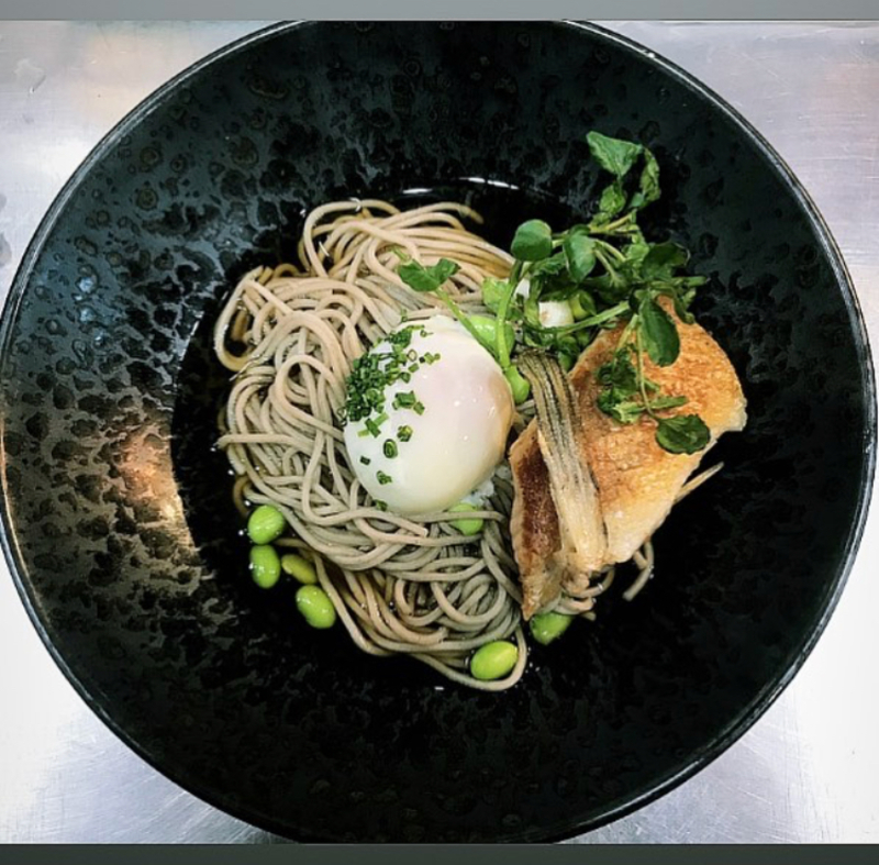 soba, ponzu, edamame, onsen egg and chives