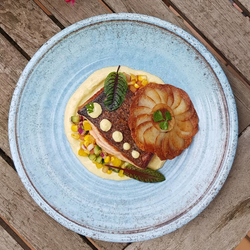 Crispy-skinned Salmon with Corn Salsa, Pomme Maxim, Fennel Puree