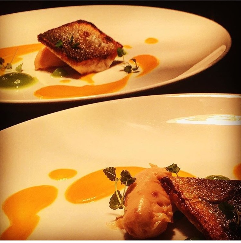 Sea bream and sweet potato purée salmon mousse